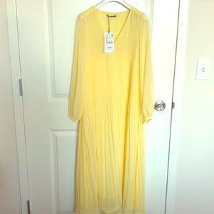 Zara yellow maxi dress 7385/122/300 size xs